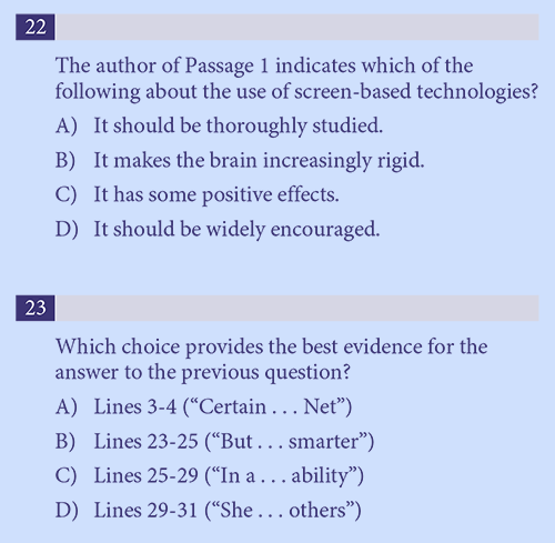 Linked Evidence Questions on SAT Reading – Chariot Learning